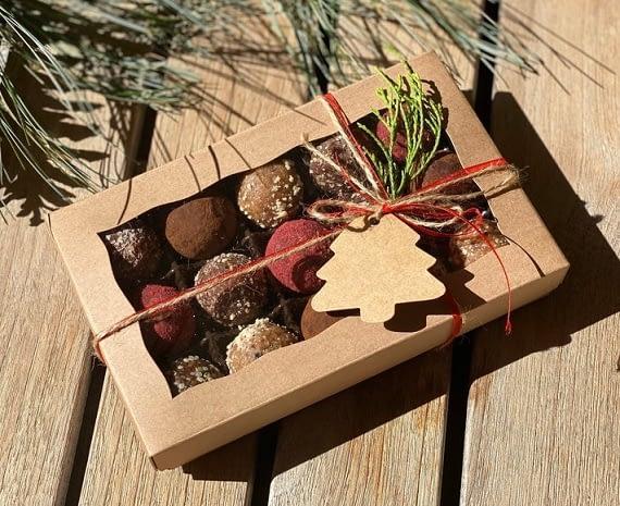 christmas gift box of truffles
